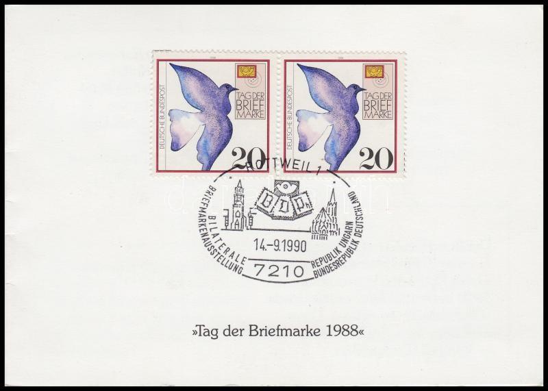 West Germany-Hungary stamp exhibition commemorative sheet with Hungarian block and Geman stamp pair, NSZK-Magyarország bélyegkiállítás emléklap magyar blokkal, német bélyegpárral