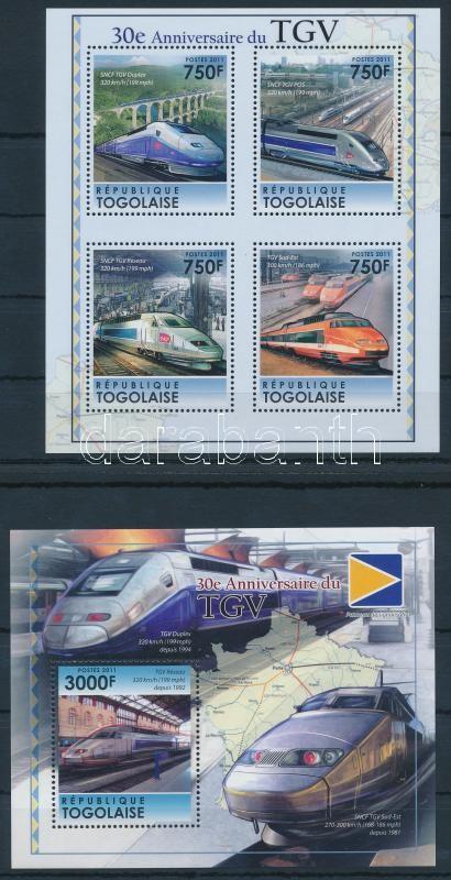 30th anniversary of TGV trains mini sheet + block, 30 éves a TGV vonat kisív + blokk