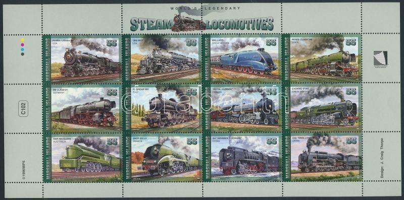 Locomotives mini sheet, Mozdonyok kisív
