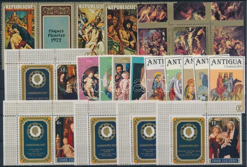 1972-1977 Paintings 18 stamps + block, 1972-1977 Festmény motívum 18 klf bélyeg közte ívsarki értékek és szelvényes párok + blokk