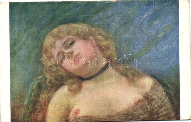 Rozmar / Erotic nude art postcard, Minerva 1115. s: Hisler, Erotikus meztelen művészeti képeslap, Minerva 1115. s: Hisler