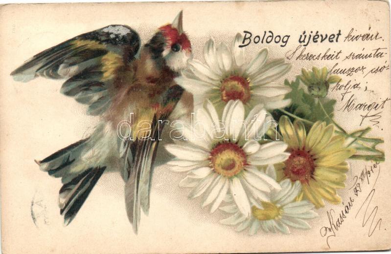 1899 New Year, flowers, bird; Breitner Mór litho, 1899 Újév, virágog, madár; Breitner Mór litho