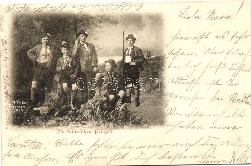 'Die Kaiserlichen Prinzen' / The German Imperial Princes in traditional Bavarian breeches 'Lederhosen', Német császári hercegek a hagyományos bajor viseletben 'Lederhosen'