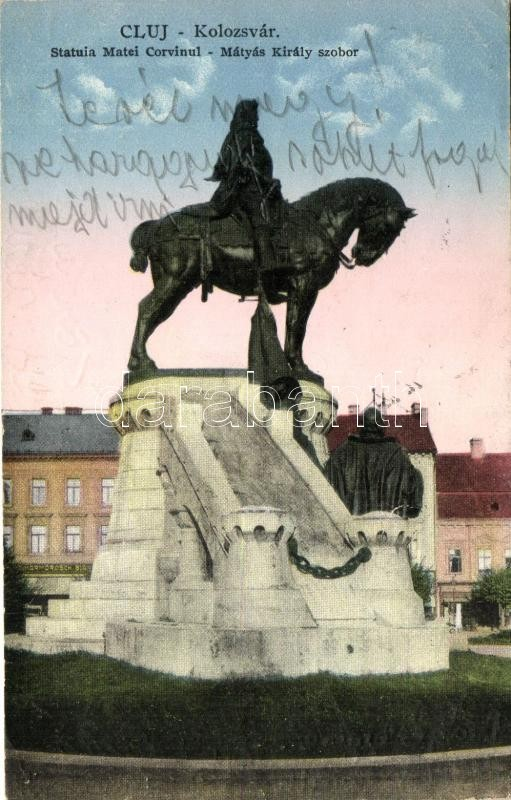 Cluj, statue of King Matthias, Kolozsvár, Mátyás király szobor