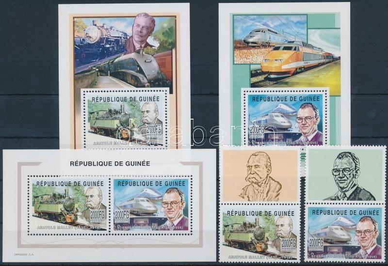 History of France railway set + minisheet set + block set, Francia vasút történelme szelvényes sor + kisív sor + blokksor