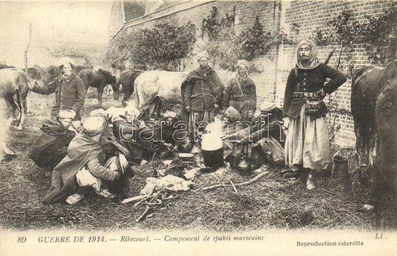 Ribecourt, Campement de spahis marocains / Moroccon Spahi soldiers, Ribecourt, marokkói szpáhi katonák tábora