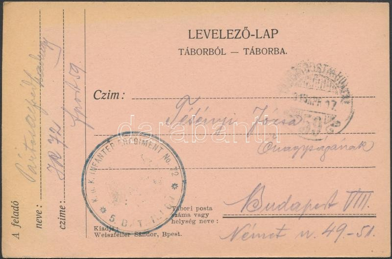 "Austria-Hungary Field postcard, Tábori posta levelezőlap ""K.u.k. INFANTERIEREGIMENT No.72 / 5. BATAILLON"" + ""TP 59"""