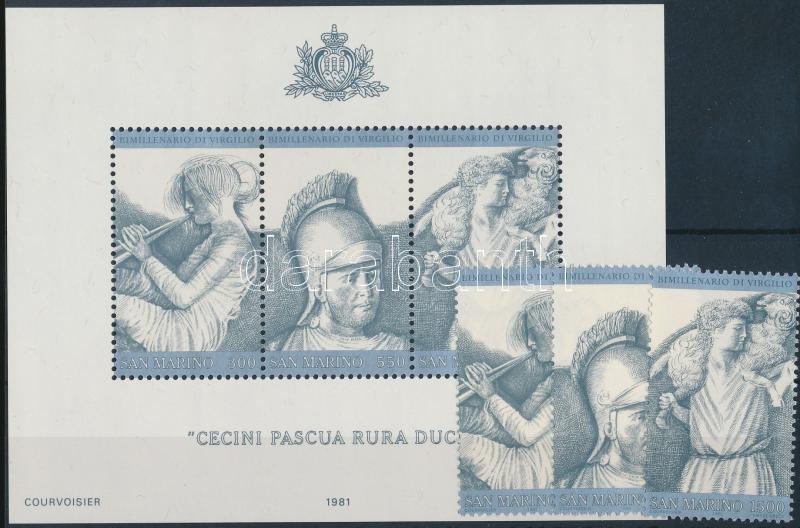 Virgil's death anniversary set + block, Vergilius halálának évfordulója sor + blokk
