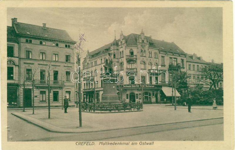Crefeld, Krefeld; Moltkedenkmal am Ostwall / statue, restaurant