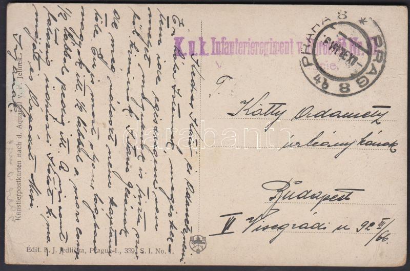 "Austria-Hungary field postcard, Tábori posta képeslap ""K.u.K. Infanterieregiment"" + ""PRAHA 8"""