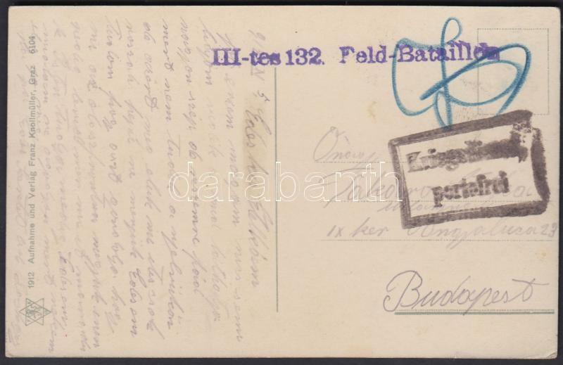 "Austria-Hungary field postcard, Tábori posta képeslap ""III-tes 132. Feld-Bataillon"""