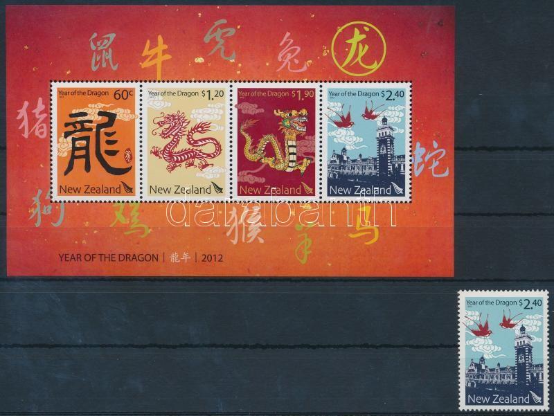 Chinese New Year closing stamp + block, Kínai újév záróérték + blokk