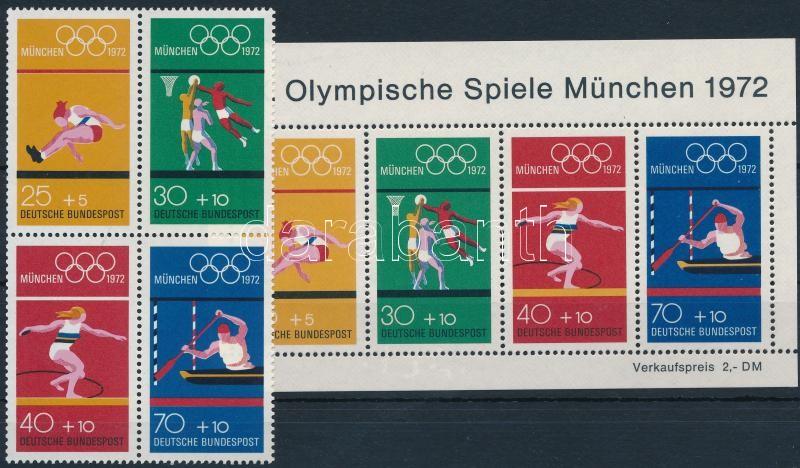 Summer Olympics, Munich stamp booklet sheet + block, Nyári olimpia, München bélyegfüzet lap + blokk