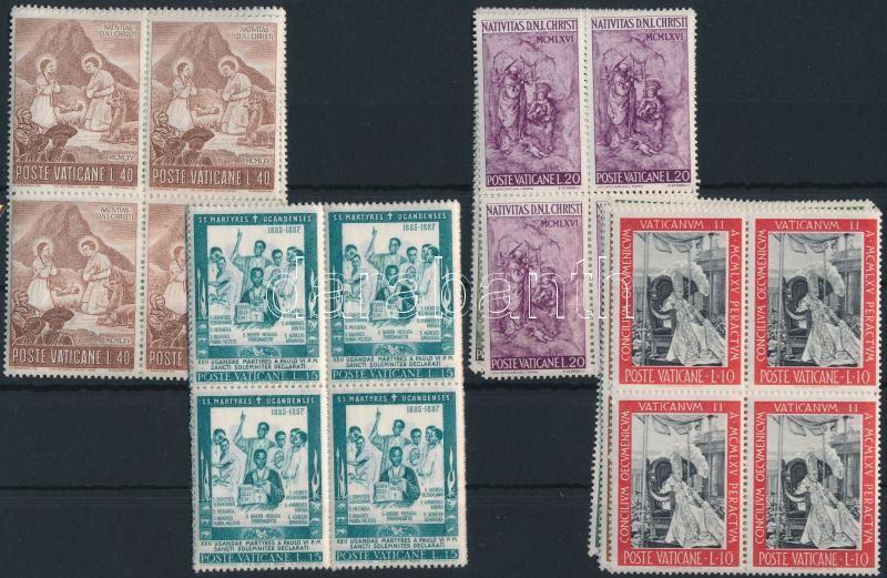 1965-1966 4 diff sets in blocks of 4, 1965-1966 4 klf sor négyestömbökben