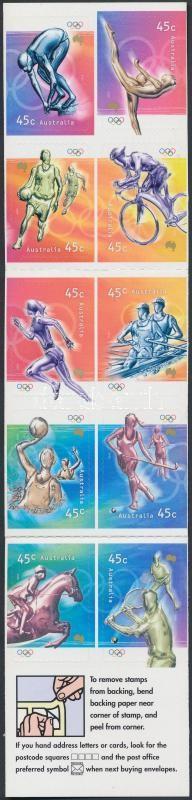 Summer Olympics, Sydney self-adhesive stamp-booklet, Nyári Olimpia, Sydney öntapadós bélyegfüzet
