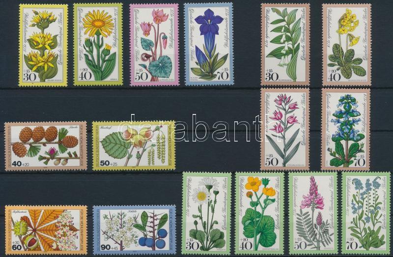 1975-1979 4 Flower sets, 1975-1979 4 klf Virág sor