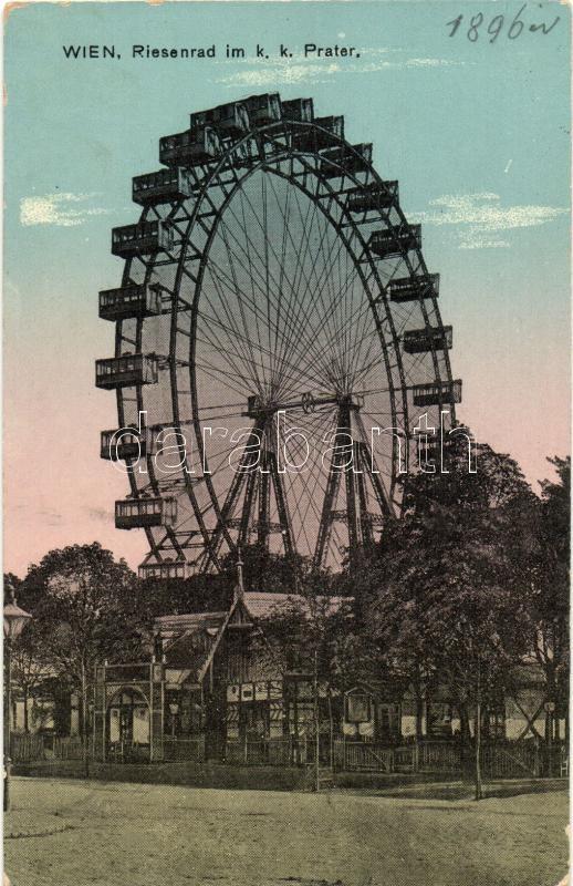 Vienna, Wien II. Riesenrad im k.k. Prater / ferris wheel (worn edges)