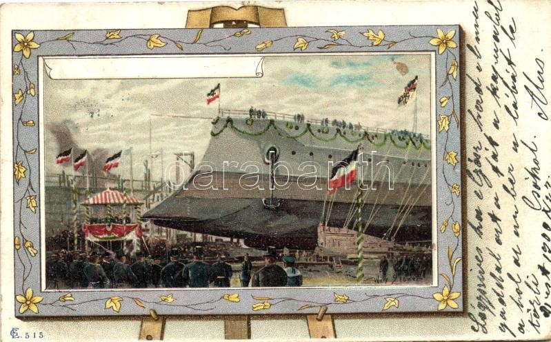 Launching of a German pre-dreadnought, probably a Deutschland-class, litho, Német csatahajó vízre bocsátása, litho
