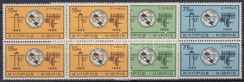 Centenary of ITU set blocks of 4, 100 éves a Nemzetközi Távközlési Unió (ITU) sor négyes tömbökben