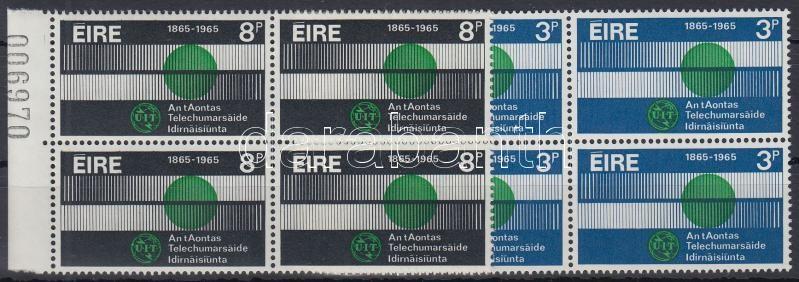 ITU set corner blocks of 4, 100 éves a Nemzetközi Távközlési Unió (ITU) sor ívszéli négyes tömbökben