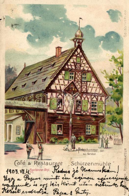 Brezová, Pirkenhammer; Café & Restaurant Schützenmühle, Egerländer Styl, litho
