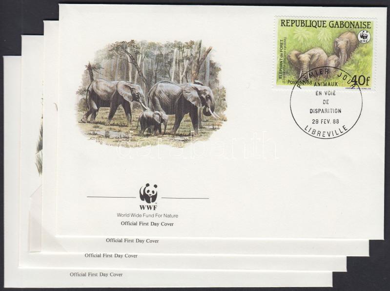 WWF Forest elephants set 4 FDC, WWF Erdei elefántok sor 4 db FDC