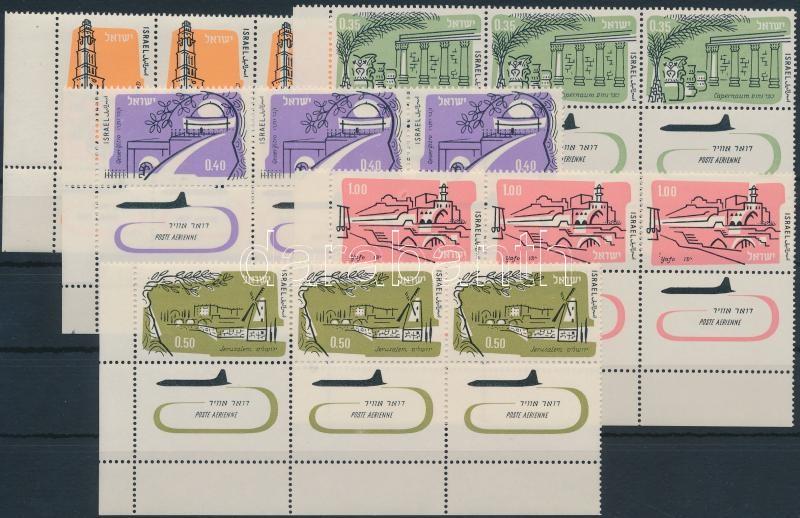 5 stamps with tab in stripes of 3, 5 klf bélyeg tabos hármascsíkokban
