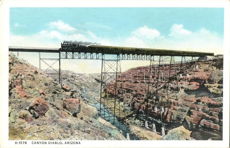 Canyon Diablo, Arizona, railway bridge, locomotive
