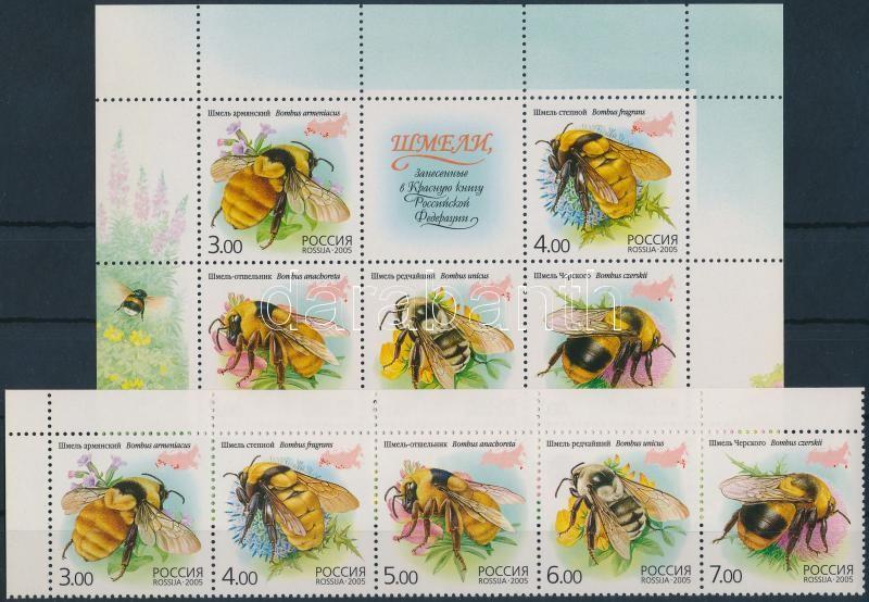Bees set corner stripe of 5 + block, Méhek sor ívsarki vízszintes 5-ös csíkban + blokk