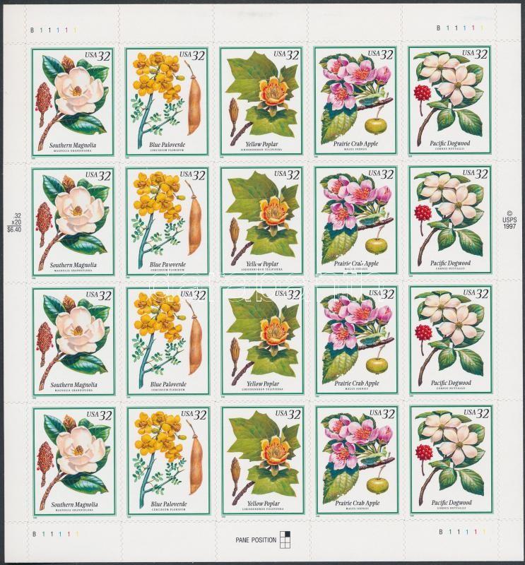 Flowers and fruits foil sheet, Virágok és termések fóliaív