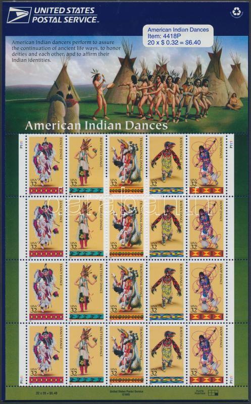 1996 Indián táncok kisív Mi 2730-2734 eredeti bontatlan csomagolásban