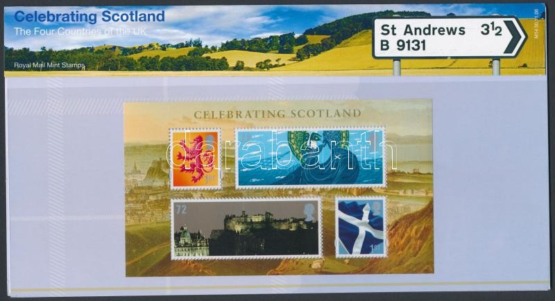 Scotland National Day block in holder, Skócia Nemzeti ünnep blokk díszcsomagolásban