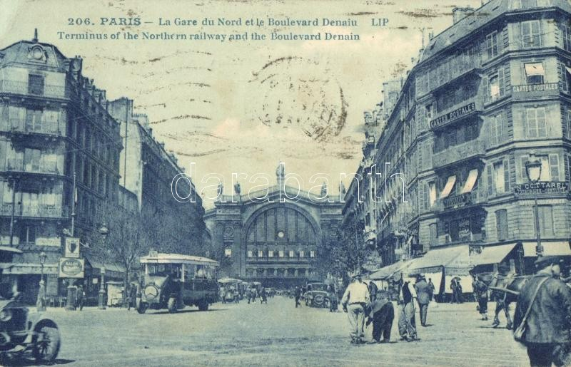 Paris, La Gare du Nord, Boulevard Denaiu, Cartes Postales / railway station, boulevard, autobus