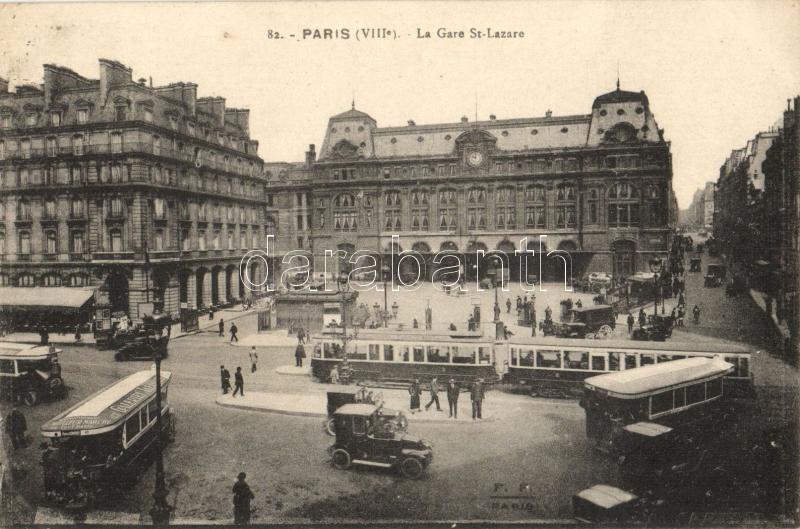 Paris, Gare St. Lazare, Cour du Havre / railway station, trams, autobuses, automobiles
