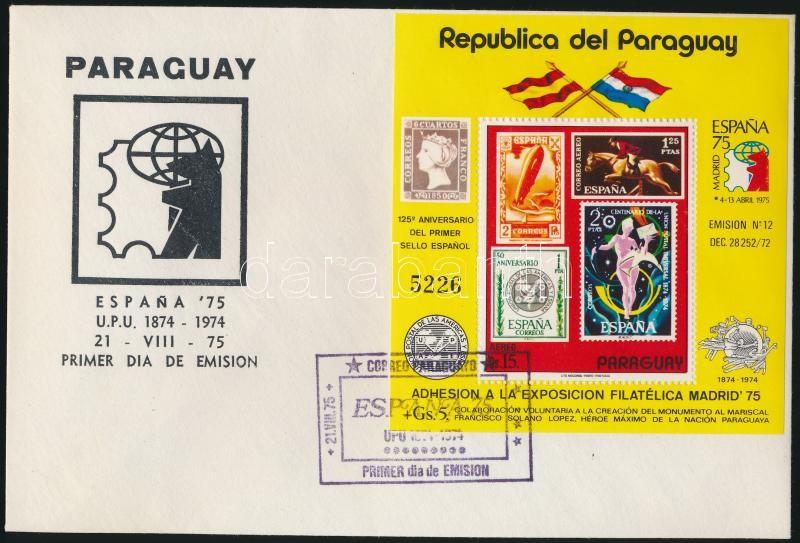 International Stamp Exhibition, UPU stamp on stamp block FDC, Nemzetközi bélyegkiállítás, UPU bélyeg a bélyegen blokk FDC