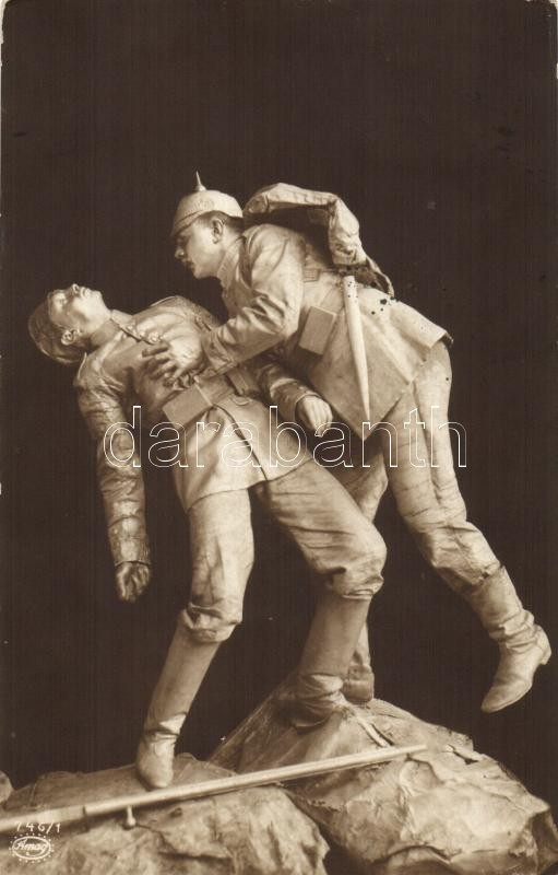 WWI German soldiers, statue, Amag No. 746/1. (worn edges), I. világháborús német katonák szobra, Amag No. 746/1. (kopott sarkak)
