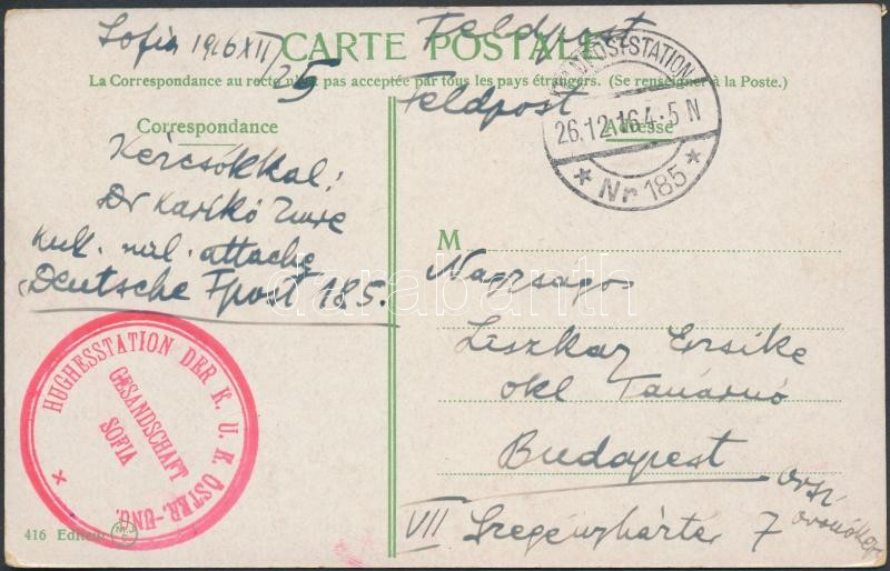 "Postcard ""HUGHESSTATION  DER K. U. K. ÖSTERR-UNG. GESANDSCHAFT SOFIA"", Képeslap ""HUGHESSTATION  DER K. U. K. ÖSTERR-UNG. GESANDSCHAFT SOFIA"""