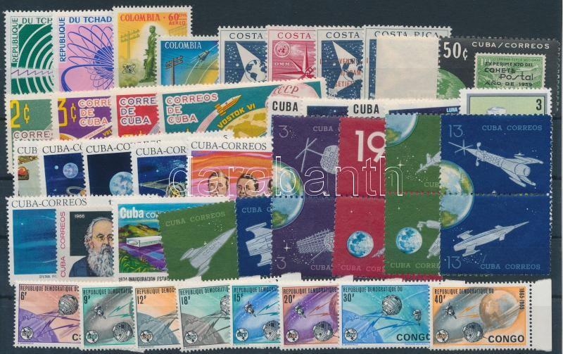 Cuba 1961-1974 Space Research 44 stamps, Kuba 1961-1974 Űrkutatás motívum 44 db bélyeg, közte teljes sorok, ívszéli értékek és összefüggések