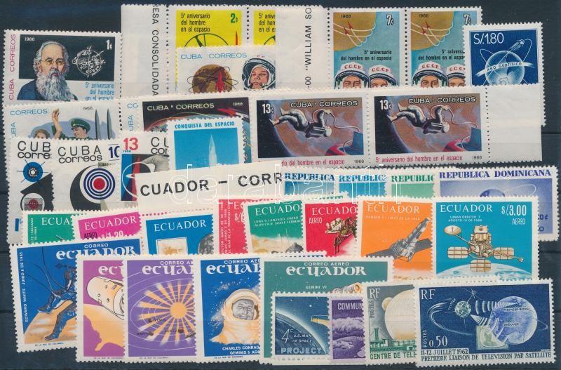 1958-1966 Space Research 40 stamps, 1958-1966 Űrkutatás motívum 40 db bélyeg, közte teljes sorok, összefüggések és ívszéli érékek