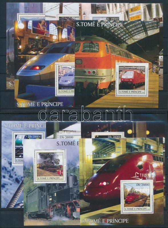 Train mini sheet set + blockset, Vonat kisívsor + blokksor