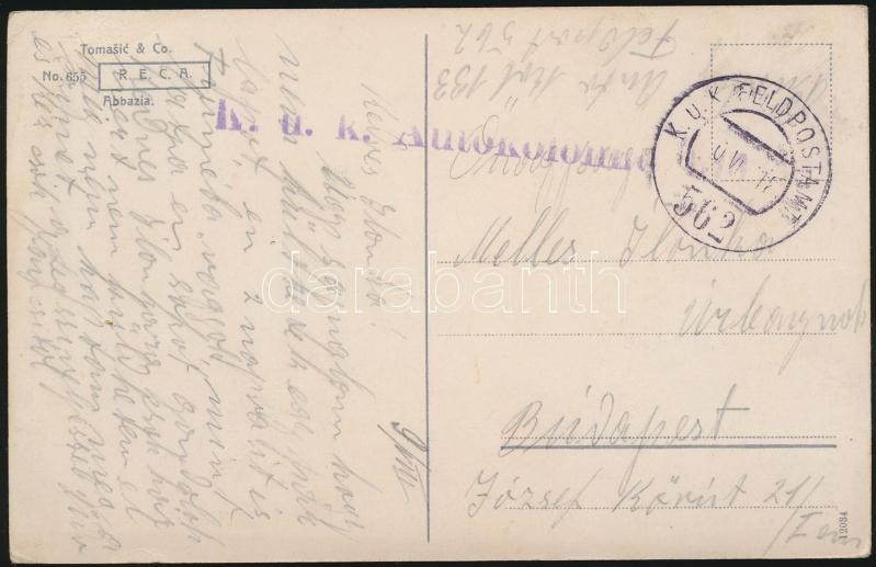 "Austria-Hungary field postcard, Tábori posta képeslap ""K.u.k.. Autokolonne"" + ""FP 562"""