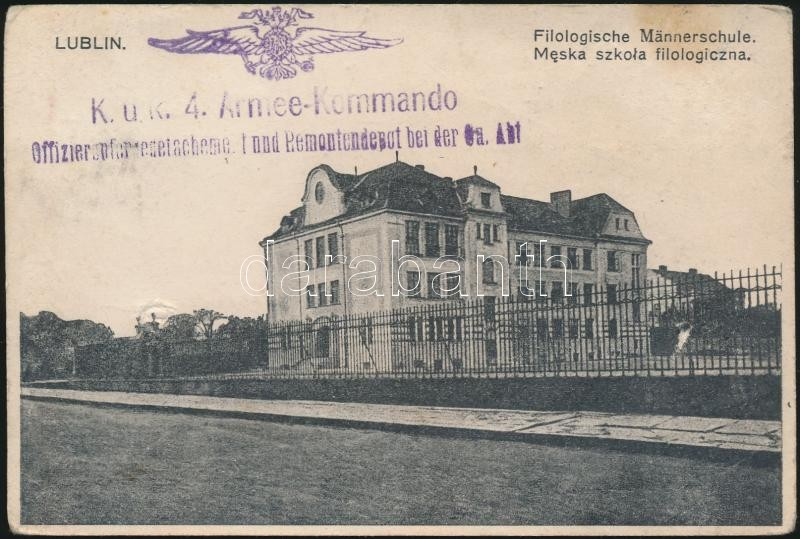 "Austria-Hungary Field postcard, Tábori posta képeslap ""K.u.k. 4. Armee-Kommando Offizierspferredetachement und Remontendepot bei der Ga. Abt."" + ""FP 56 a"""