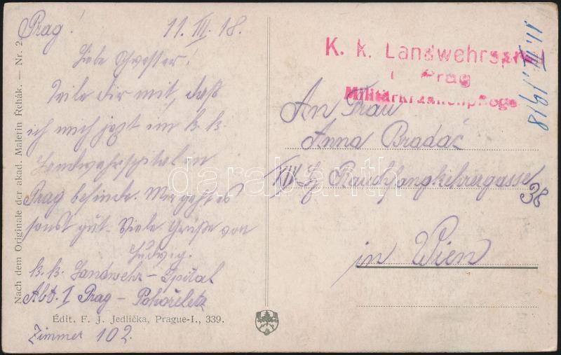 "Austria-Hungary field postcard, Tábori posta képeslap ""K.k. Landwehrspital Prag Militär...pflege"""