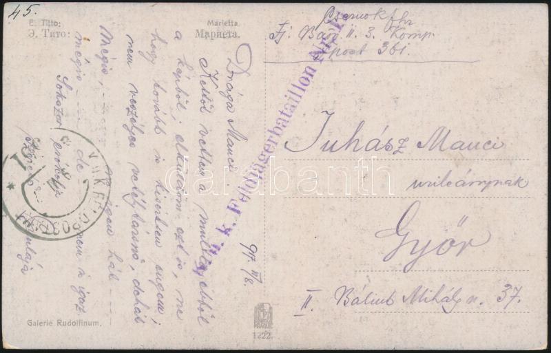 "Field post postcard ""K.u.k. Feldjägerbataillon Nr.11"" + ""FP 361 a"", Tábori posta képeslap ""K.u.k. Feldjägerbataillon Nr.11"" + ""FP 361 a"""