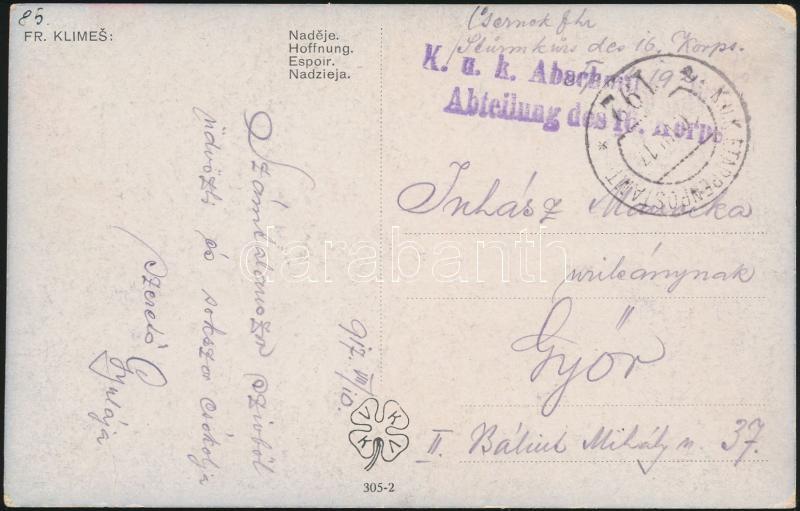"Field post postcard ""K.u.k. ... Abteilung des 16. Korps"" + ""EP 192 a"", Tábori posta képeslap ""K.u.k. ... Abteilung des 16. Korps"" + ""EP 192 a"""