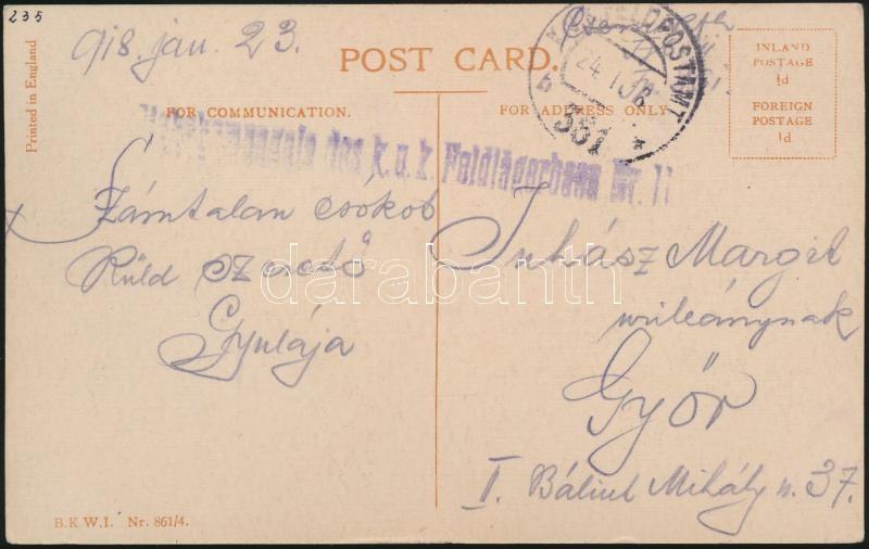 "Austria-Hungary field postcard, Tábori posta képeslap ""Stabskompagnie des k.u.k. Feldjägerbaon Nr. 11."" + ""FP 361 b"""