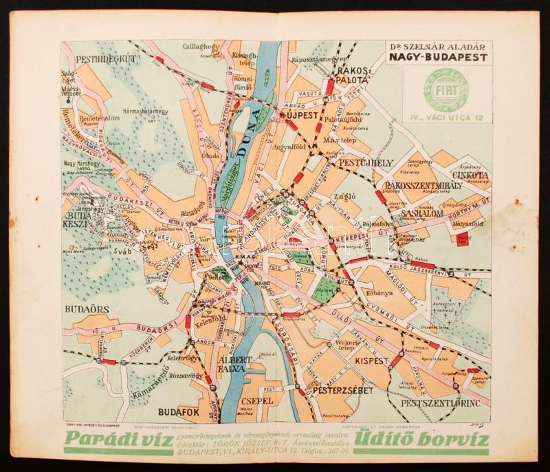 nagy budapest térkép 1927 Nagy Budapest, dr. Szelnár Aladár, térkép, 20x23cm  nagy budapest térkép