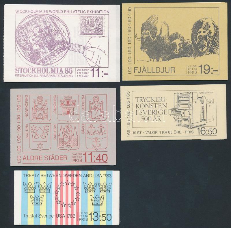 1983-1986 5 stamp-booklets, 1983-1986 5 klf bélyegfüzet