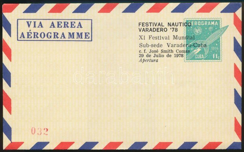 Használatlan űrkutatás motívum díjjegyes aerogramm felülnyomva FESTIVAL NAUTICO VARADERO 78, Unused PS aerogramm with Space Research motive overprinted  FESTIVAL NAUTICO VARADERO 78