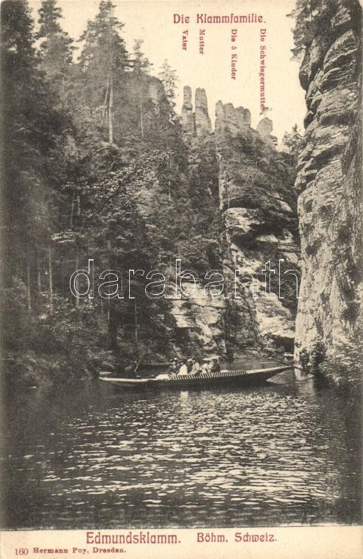 Soutesky Kamenice, Edmundsklamm; Die Klammenfamilie / rock formations, rowboat